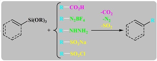 New insight in Hiyama cross-coupling reactions: Decarboxylative, denitrogenative and desulfidative couplings