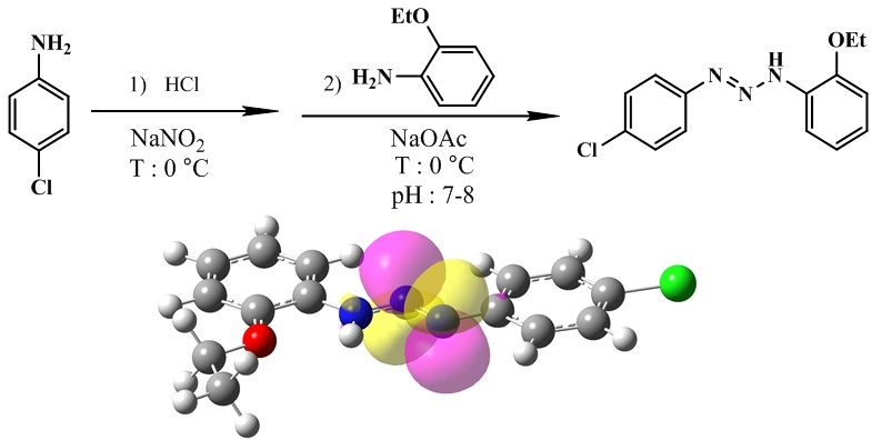 Novel 1-(4-chlorophenyl)-3-(2-ethoxyphenyl)triazene ligand: Synthesis, X-ray crystallographic studies, spectroscopic characterization and DFT calculations